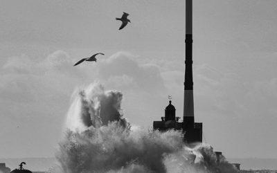 Passage de la tempête Ciara sur la plage du Havre