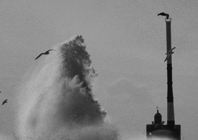 Tempête Ciara sur le Havre digue du port